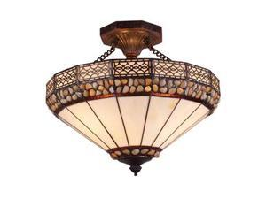 Elk Lighting Stone Filigree 3-Light Semi Flush in Burnished Copper - 70075-3