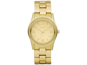 DKNY Gold Tone Glitz Aluminum Womens Watch NY8308