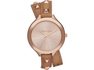 Michael Kors Slim Runway Rose Gold Studded Leather Womens Watch MK2299