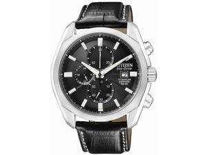 Citizen CA0020-05E Men's Eco-Drive Titanium Collection Chronograph Leather Watch
