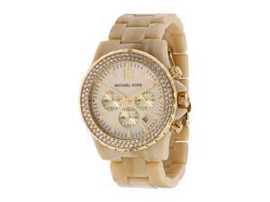 Michael Kors MK5558 Plastic Link Bracelet Gold Tone Quartz Chronograph Crystal