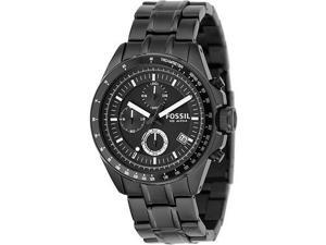 Fossil Men's Decker Chronograph Black Dial Black Ion Plated Stainless Steel