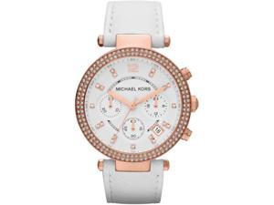 Michael Kors Parker Chronograph White Leather Rose Gold Womens Watch MK2281