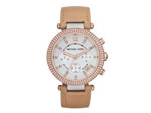 Michael Kors Parker Chronograph Tan Leather Womens Watch MK5633