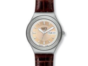 Swatch Quaterman Irony Brown Leather Mens Watch YGS738
