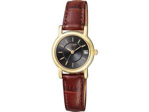 Citizen Eco-Drive Gold Tone Black Dial Brown Leather Womens Watch EW1272-01E