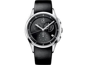 Calvin Klein Black Leather Chronograph Mens Watch K2A27161