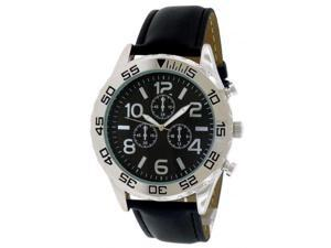 FMD Grey Dial Black Leather Mens Watch FMDM260