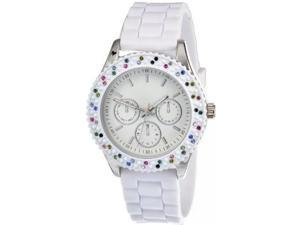 FMD Colored Crystal Bezel White Rubber Womens Watch ZRT21008