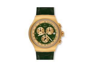 Swatch Chronograph Golden Hide Green Leather Mens Watch YOG406
