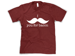 """I Mustache You For Bacon"" Funny T-Shirt"