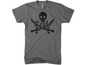 Pirate Skull and Crossbones Math Pi-Rate T-Shirt Funny Mathematical Shirt L