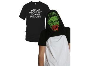 Ask Me About my Zombie Diguise Funny Flip-Up t Shirt L
