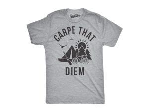 Mens Carpe That Diem Funny Outdoors Nature Summertime Hiking Mountain T shirt (Grey) M