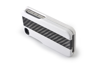 ION Case - Carbon Fiber LEATHER SHELL iPhone 4 WHITE