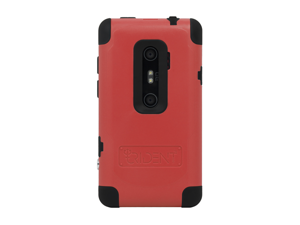 Red Black OEM Trident Cyclops II Hard Rubbery Silicone Case Cover W SP For HTC EVO 3d