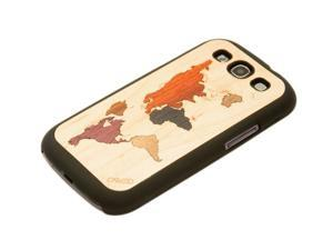 CARVED - World Map Inlaid Wood Galaxy S3 Matte Black Case