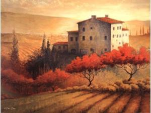 Old Tuscan Villa Poster Print by Dee Dee (24 x 18)