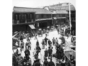 China Shanghai C1900 Na Busy Street In Old Shanghai Looking From The City Wall Across The Canal Into The French Concession Stereograph C1900 Poster Print by  (18 x 24)