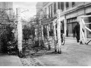 China Shanghai 1927 Nbarbed Wire Blockade On A Street In Shanghai China Photograph 1927 Poster Print by  (18 x 24)