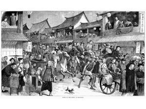 China Shanghai 1879 Ncrowd Of People On Foot In Carriages And Rickshaws And On Horseback Traveling Through The Streets Of Shanghai To Go To A Derby Wood Engraving American 1879 Poster Print by  (18 x