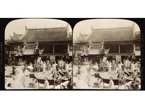 China Shanghai C1900 Nscene At A Temple In The Native Part Of Shanghai China Stereograph View C1900 Poster Print by  (18 x 24)