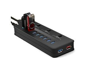 Etekcity® High Speed 10 Port USB 3.0 HUB and 5V/2.1A Charging Port with 3 Power Switches 12V 4A Power Adapter with USB 3.0 ...