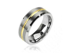 Tungsten carbine ring with gold striped center,Ring Size - 9