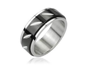 316L Stainless Steel Black Dia Face Cut Center Spinner Ring,Ring Size - 12