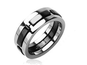 Solid Titanium with Multi Onyx Colored Dexter Ring,Ring Size - 7