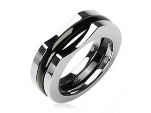 Solid Titanium with a Two Piece IP Black Ring,Ring Size - 9