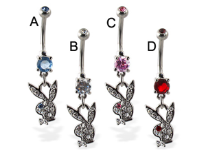 Double jeweled belly button ring with dangling jeweled playboy bunny,Color:clear - B