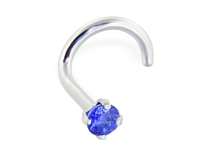14K Gold Nose Screw with Genuine Blue Sapphire, 20 Ga,Gold color:White gold