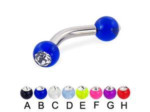 "Acrylic ball with stone curved barbell, 10 ga,Length:5/8"" (16mm),Ball size:3/16"" (5mm),Color:pink - F"