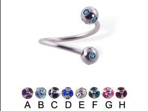 "Tiffany ball spiral barbell, 16 ga,Diameter:3/8"" (10mm),Ball size:5/32"" (4mm),Color:emerald - F"