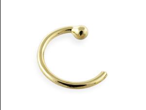 "14K Gold Nose Hoop, 20 Ga,Diameter:1/4"" (6mm),Gold color:Yellow gold"