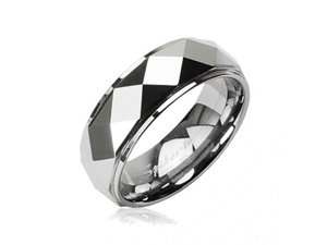 Tungsten Carbide Faceted Ring With Drop Down Edges,Ring Size - 13