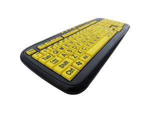 DSI Big Font Large Print USB Yellow Key Keyboard PC Compatible - OEM