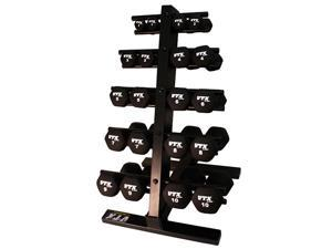 VTX by Troy Barbell Neoprene 1-10lb. Dumbbell Set with Rack