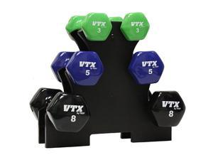 VTX by Troy Barbell Compact Vinyl Dumbbell Set and Stand