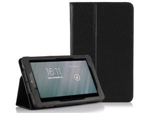 SUPCASE Dell Venue 8 (Android) Slim Fit Folio Leather Case (Black) - Flip Cover and Stand, Elastic Hand Strap, Not Fit Dell ...