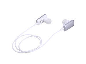 Silver Stereo Bluetooth Headphone Earbuds w/ Built-in Microphone