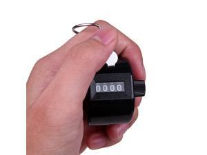 Chrome Hand Tally Counter 4 Digit Number Manual Golf Clicker (Black)