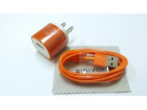 AC Power (orange) Travel Wall Adapter + 3 Feet 8-pin to USB 2.0 Charging + Data Sync Cable Cord for iphone 6/6plue/5/5S/5C/ ...