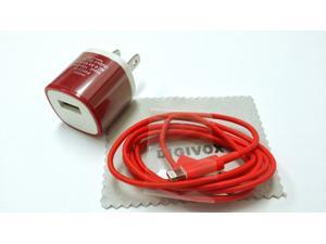 AC Power (Red)Travel Wall Adapter + 3 Feet 8-pin to USB 2.0 Charging + Data Sync Cable Cord for iPhone 5 / 5S / 5C / iPad ...