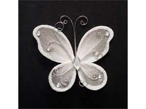 3 Inch Sheer Nylon Crystal Wire Butterfly w/ Rhinestones 12 Pieces wedding decorations - Color: White