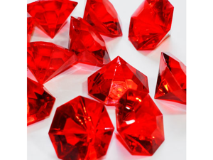 Acrylic Large Flat Diamond 1 inch table scatter confetti decoration 1lb - Color: Red