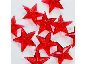 Acrylic Stars 1 1/2 inch Wedding or Party decorations 43 Pieces - Color: Red