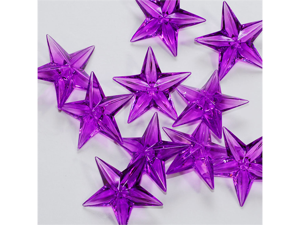 Acrylic Stars 1 1/2 inch Party or Craft Decorations 12 pieces - Color: Purple