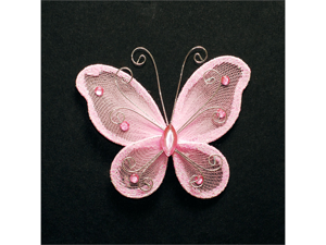 3 Inch Sheer Nylon Crystal Wire Butterfly w/ Rhinestones 12 Pieces wedding decorations - Color: Light Pink